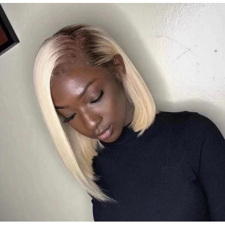 Brown blonde 6/613 dark roots ombre blonde Bob Lace Front Wigs PrePlucked hairline