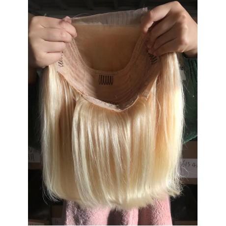 613 Blonde silky straight Bob Lace closure wig 5x5 transparent lace closure bob 613 blonde