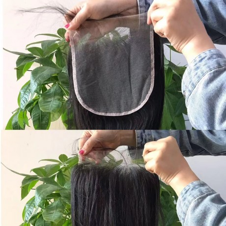 6x6 transparent Lace Closure Silky Straight / Body wave  Lace Closure preplucked hairline fedex free shipping