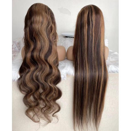 4 27 highlights human hair lace front wigs body wave/ deep curl / silky straight texture