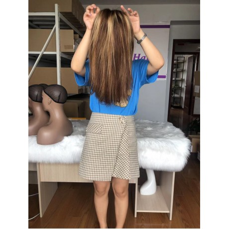 12inch silky straight 4 27 Highlights 4x4 bob human hair transparent lace closure wig 180% density