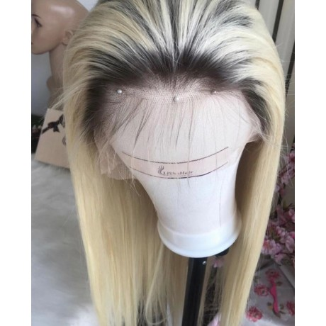 180% Density 1b 613 dark roots Blonde Lace Front Wig Virgin Brazilian Human Hair Wigs With Baby Hair LS7301