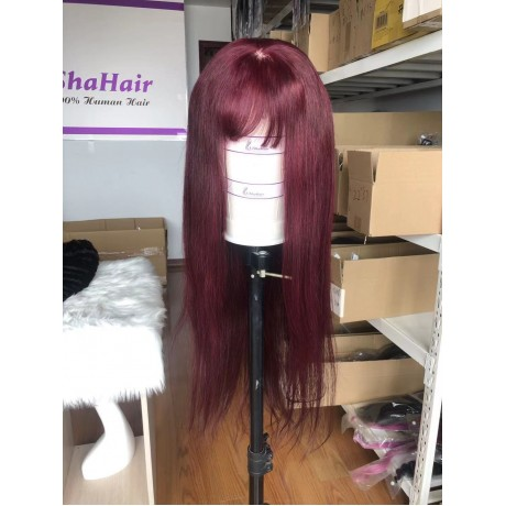 180% density virgin human hair bang straight wig 99j colored hair Pre Plucked Lace Wig With Baby Hair LS8121
