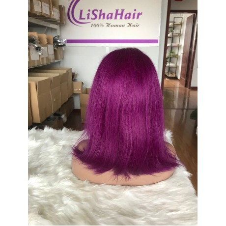 Colored purple virgin human hair silky straight bob lace front wig LS82013