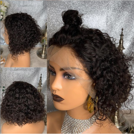 12inch lace cloure bob wig 13x4 transparent lace closure wig 180% density water wave curly bob style preplucked hairline