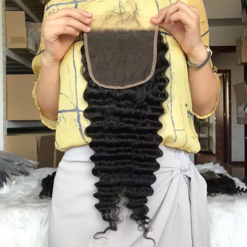 30inch 5x5 transparent lace closure wigs deep wave style With Bleached Knots 180% density LS9531