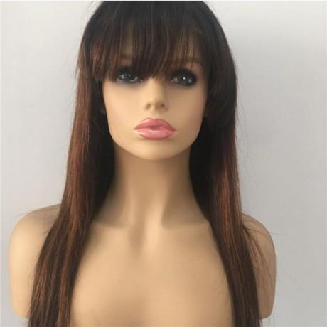1b 30 Ombre bang Human Hair Lace Front Wigs With Bang Silk Straight Wigs lishahair LS5251