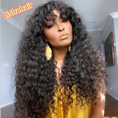 Human Hair bang style curly wavy lace front wigs with wavy bangs lishahair LS6101