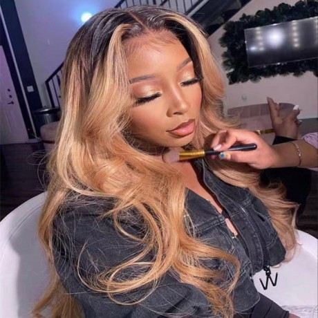 1b/27 dark roots honey blonde 150% density Ombre body wave lace front Human Hair Wigs Pre Plucked LS6192