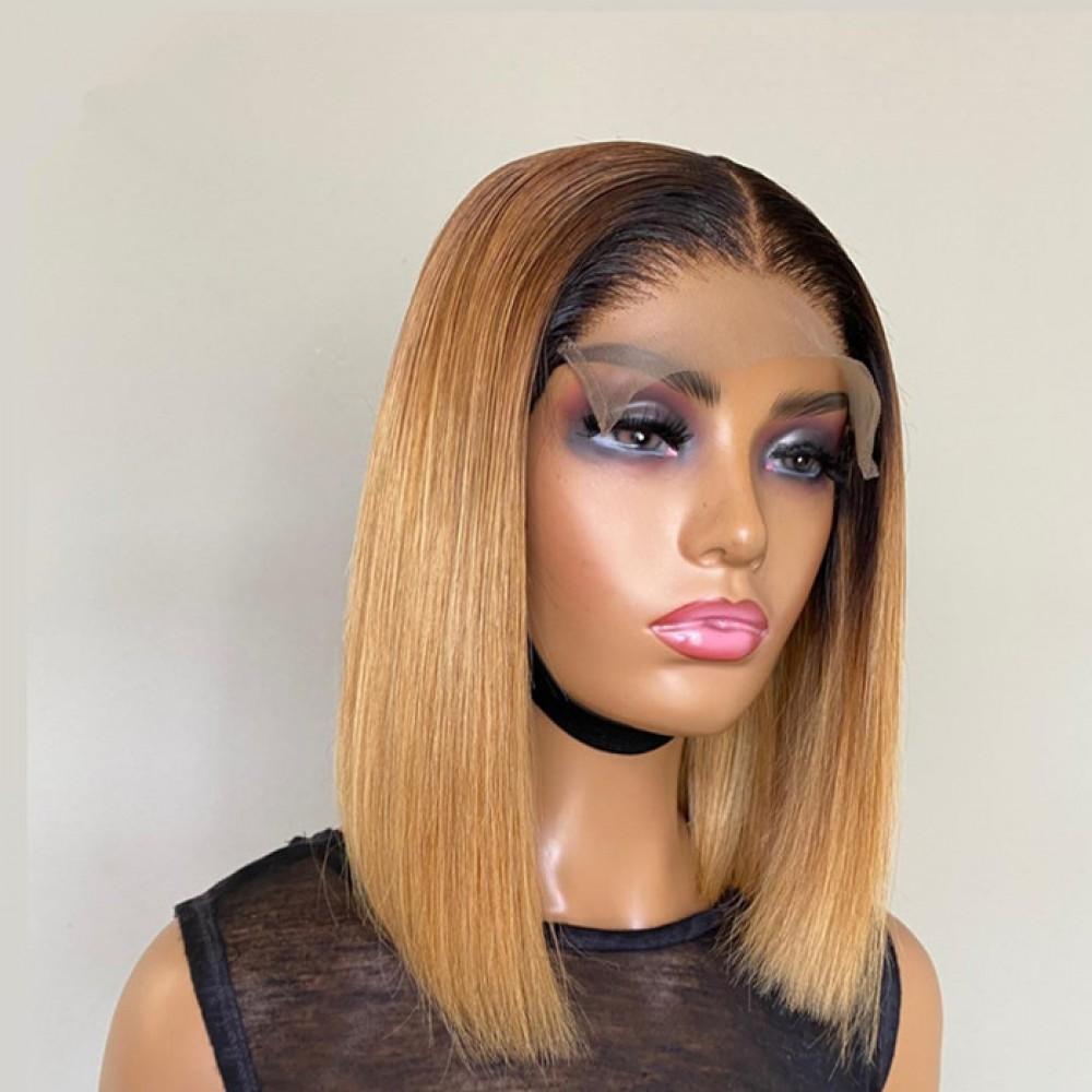 Dark roots 1b 27 silky straight virgin human hair short 5x5 lace closure bob wig preplucked hairline
