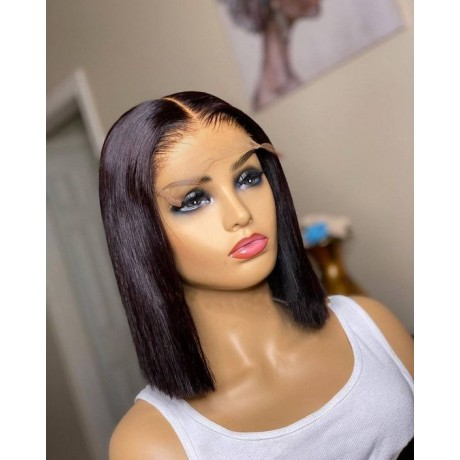 5x5 transparent lace closure bob wig silky straight texture 200% density pre pluck hairline 12inch