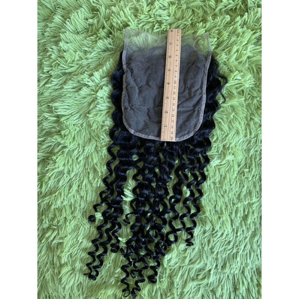 6x6  deep curly Virgin Human Hair normal brown Lace Closure Preplucked hairline