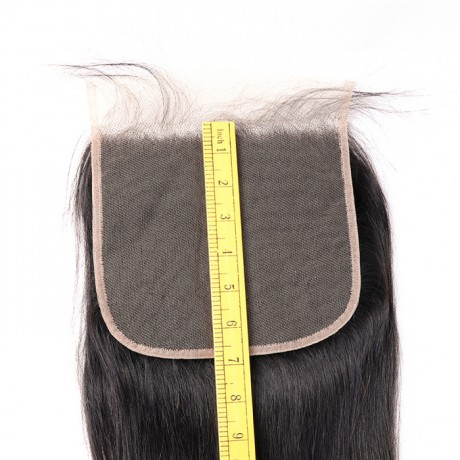 7x7 normal brown Human Hair Pre Plucked Natural Hairline Lace Top Closure silky straight/bodywave