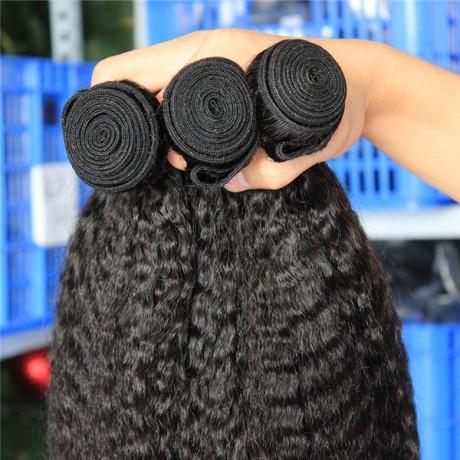10A Kinky Straight Hair Bundles Brazilian Hair Weave Coarse Yaki Straight Human Hair Bundles Natural Color Hair Weave 3pcs