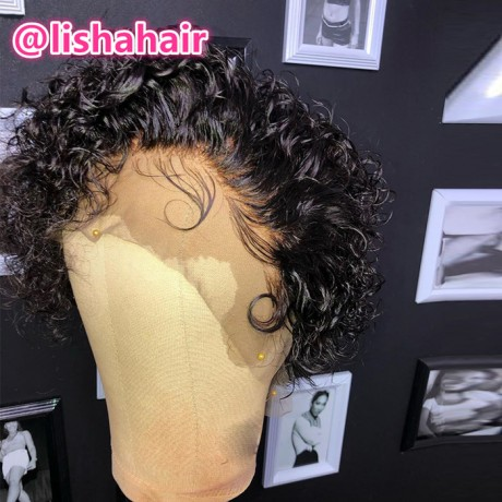Lishahair Pre Plucked Brazilian Human Virgin Hair 8inch pixie cut bob 13x4 lace front wig