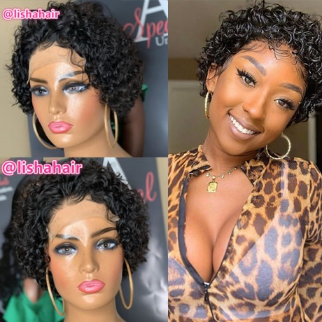 Short curly style 8 inch 4x4 lace closure bob style human hair  wig LS131