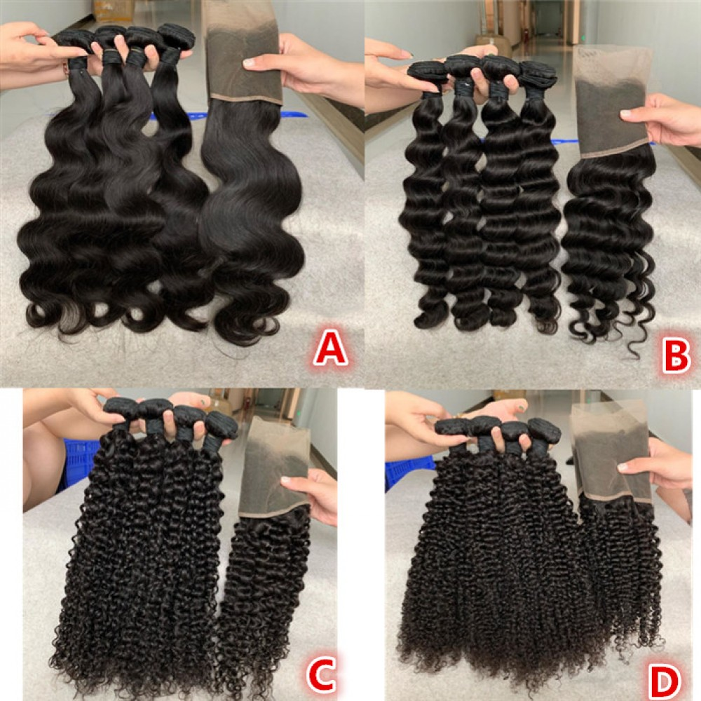 4 STYLE Brazilian human hair 3 Bundles With Frontal 13x4 Virgin Hair natural color LS10251