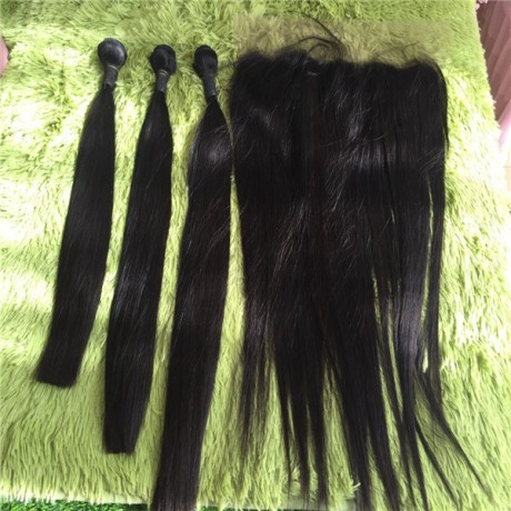 Lishahair Brazilian silky straight human Hair Weave Bundles With 13X4 Frontal free shipping