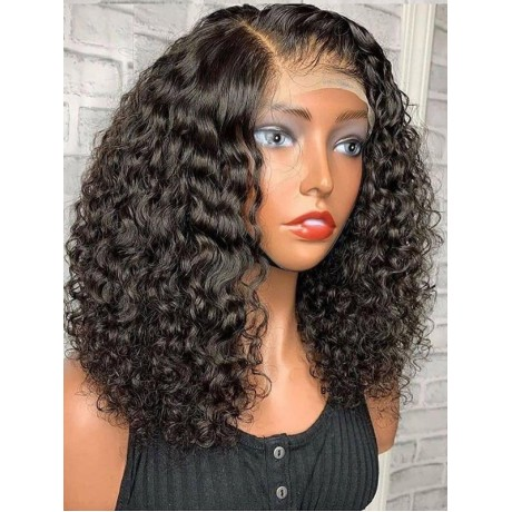 250% density water wave curly 16inch 13x4  Lace Front Human Hair Wigs Pre Plucked