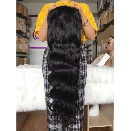 13x6 HD lace frontal wig virgin brazilian human hair silky straight and body wave style