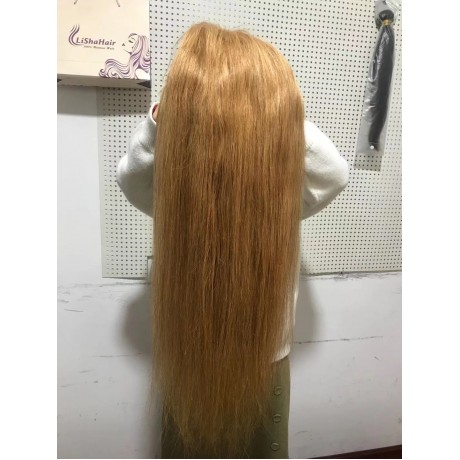 Honey blonde color 27 Lace Front Human Hair Wigs  Brazilian Remy Human Hair Pre-Plucked Hairline LS0952
