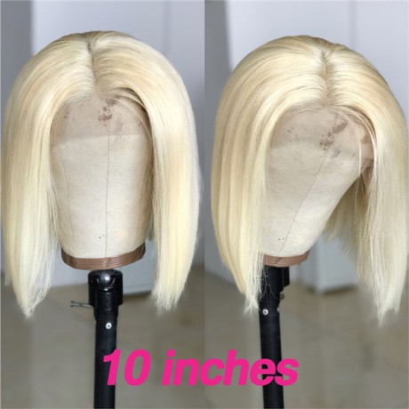 180% density 613 Blonde silky straight 13x4 lace front bob wig 12inch