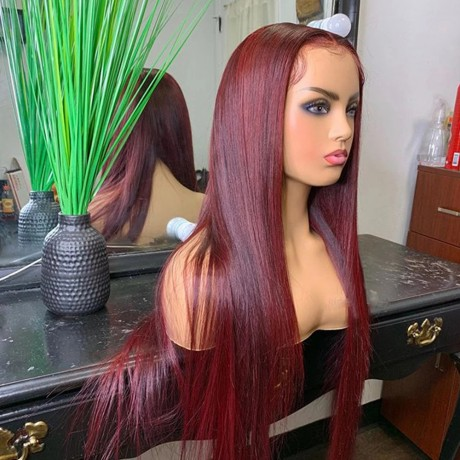 99j burgundy silky straight Lace Front Human Hair Wigs Pre Plucked with baby hair