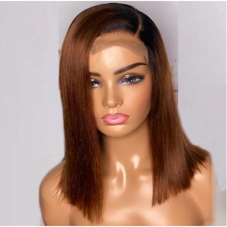 Dark roots ombre 1b 30 5x5 lace closure bob silky straight human hair wig  180% density 12inch