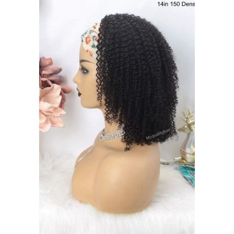 NEW kinky curly 150% density QUICK &EASY HEADBAND HUMAN HAIR WIG-HB141