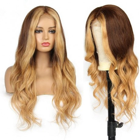 customize Colored Lace Front Human Hair Wigs wavy Brazilian Remy Human Hair Pre-Plucked Hairline LS9304