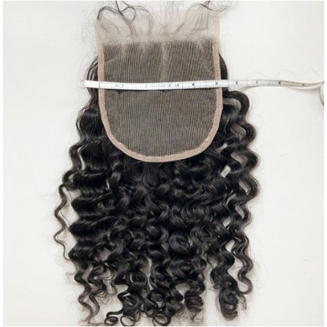 5x5 Lishahair curly style Natural Hairline Virgin Hair Lace Closure Piece