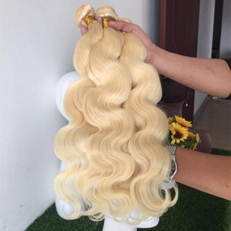 10A 613 Blonde Brazilian Hair Weave Bundles 100% Human Hair Bundles silky straight/body wave 3pcs