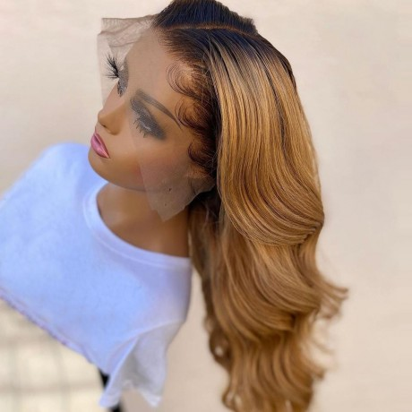 1b/27 dark roots honey blonde 180% density Ombre body wave lace front Human Hair Wigs 30inch LS6192