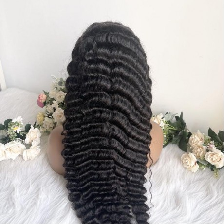 180% density deep wave 5x5 hd lace closure Human Hair Wigs Pre Plucked Lace Wig