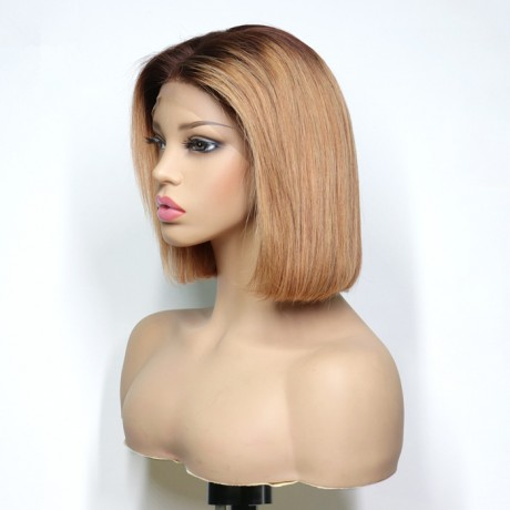 4 27  dark roots silky straight short bob style Lace Front Human Hair Wigs LS7302