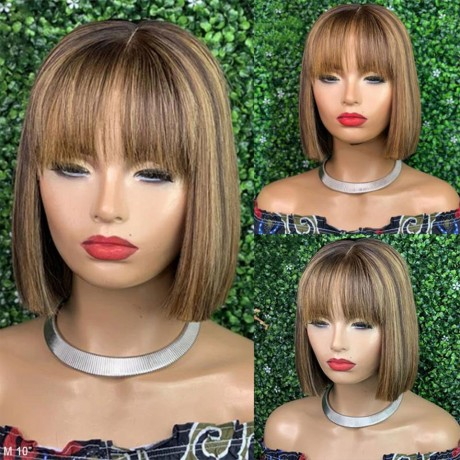 Highlights band style silky straight Bob Lace Front Wigs side part With Baby Hair LS9292
