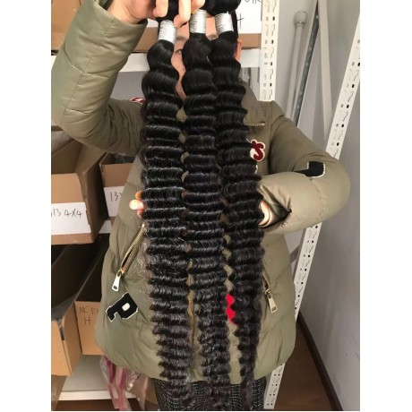 10A  Deep wave Hair Bundles Brazilian Human Hair weaving Bundles Natural Color Remy Hair Weave 3pcs