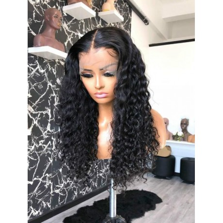 13x6 Lace Front Wigs water wave curly virgin brazilian Remy human Hair wig LS1092