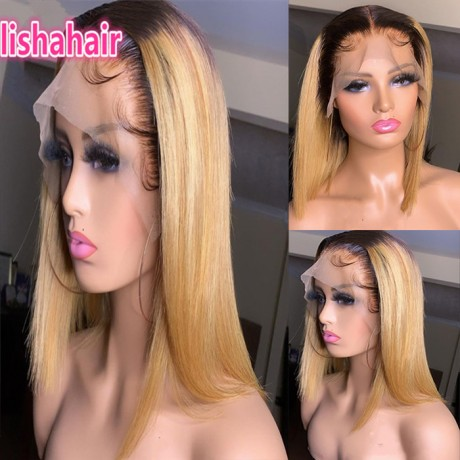 Dark roots 1b 27 silky straight human hair lace front wig 150% density 10/12/14inch LS4211