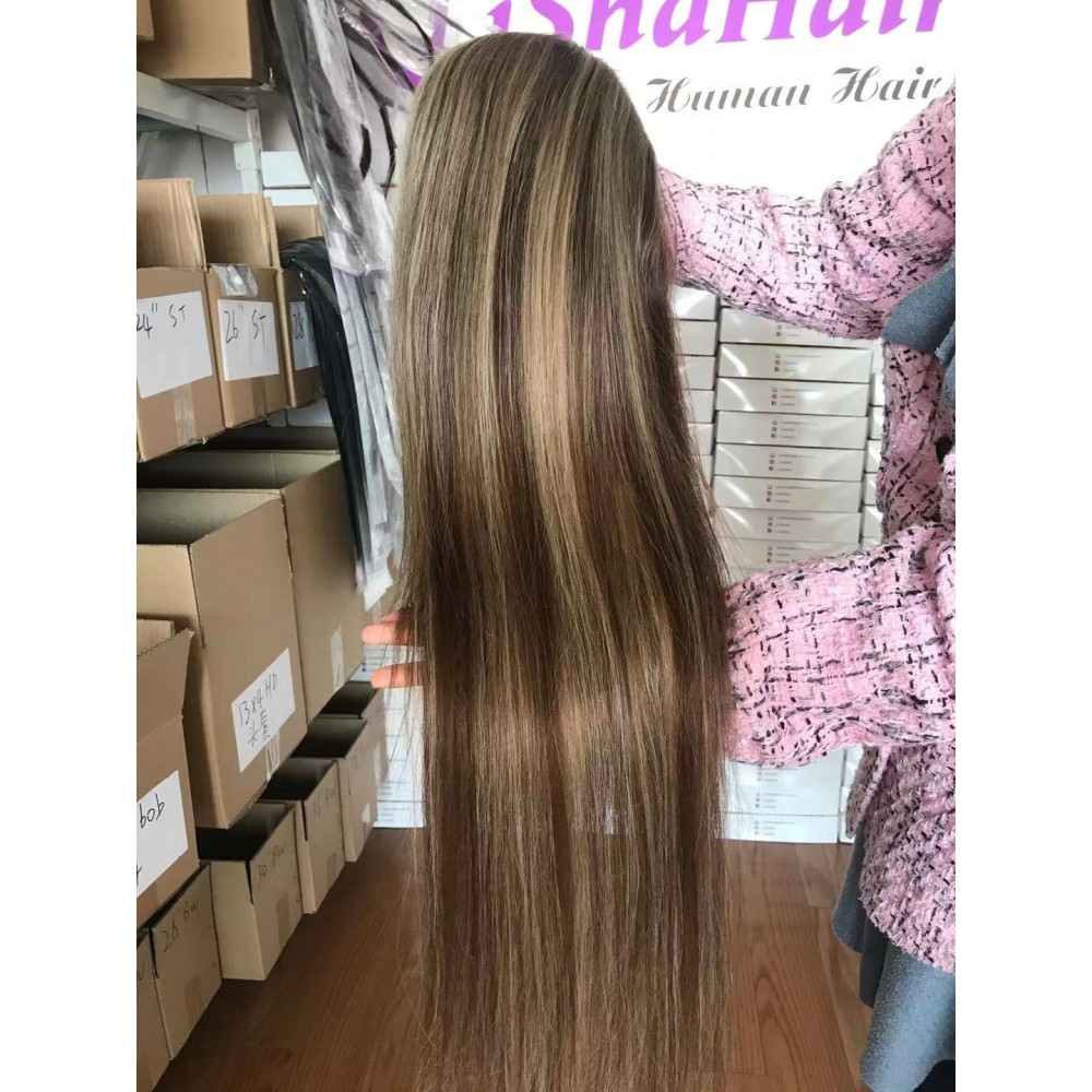 13x6 lace front wig Highlights Colored Wigs 8/613 Color Silky Straight Brazilian Virgin Human Hair 150% Density 18inch