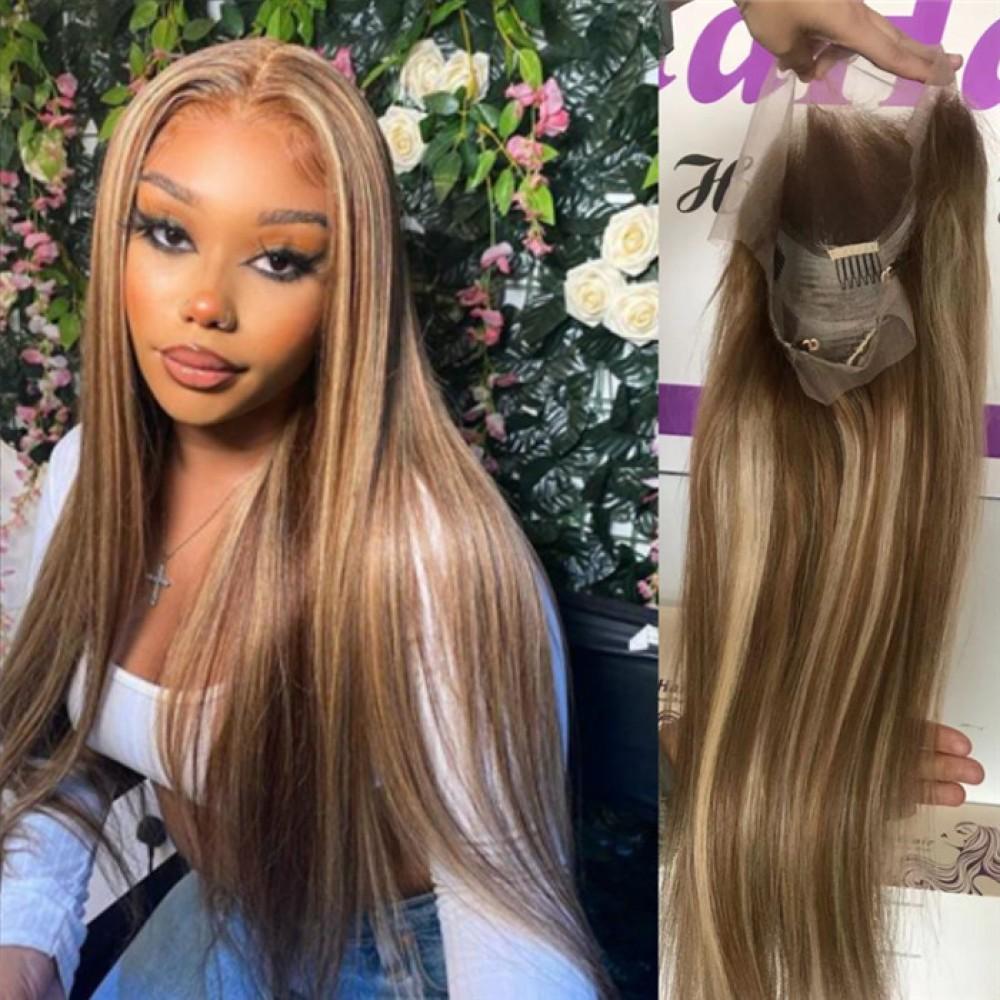 Balayage  highlights colored Wigs 8/613 color silky straight Brazilian virgin human  hair 150% density 24inch