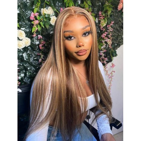 Balayage  highlights colored Wigs 8/613 color silky straight Brazilian virgin human  hair 150% density 24inch