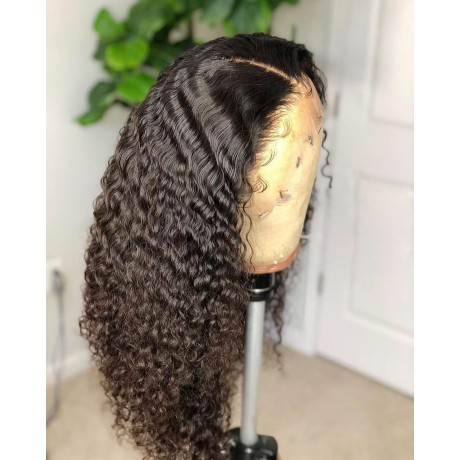 Curly style virgin human hair 130 Density Pre Plucked Glueless Lace Front Human Hair Wig with babyhair LS11291