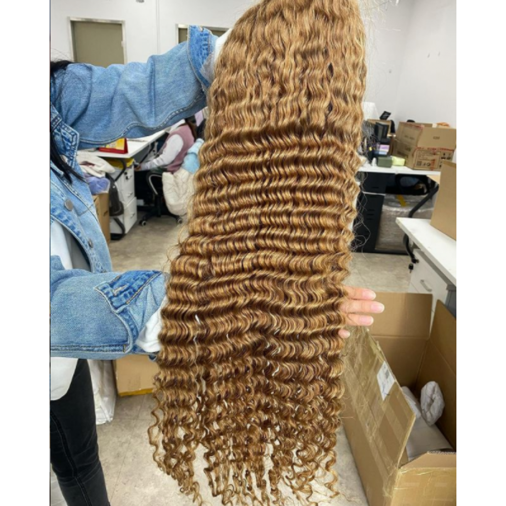 150% density Honey blonde color 27 Lace Front Human Hair Wigs  Brazilian Remy Human Hair deep wave Pre-Plucked Hairline LS0952