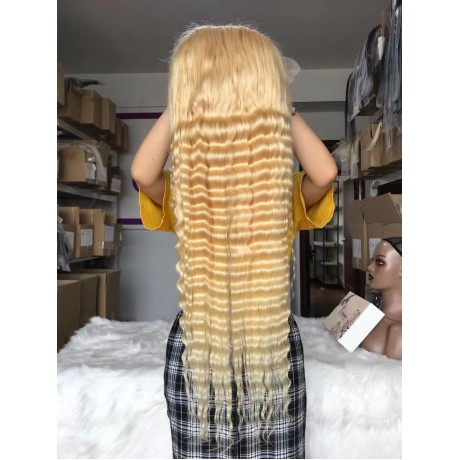 613 Blonde deep wave human hair lace front wigs  180% density preplucked hairline virgin hair lace wigs LS1091