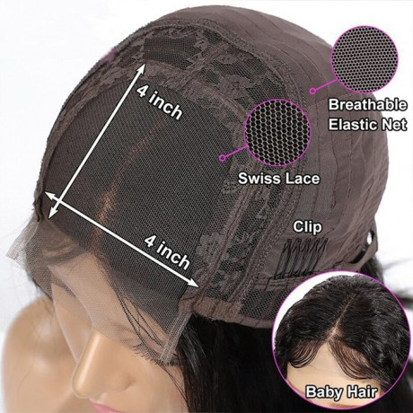pixie cut short silky straight 4x4 Human Hair lace closure Wigs For Women Natural Black Color LS7123
