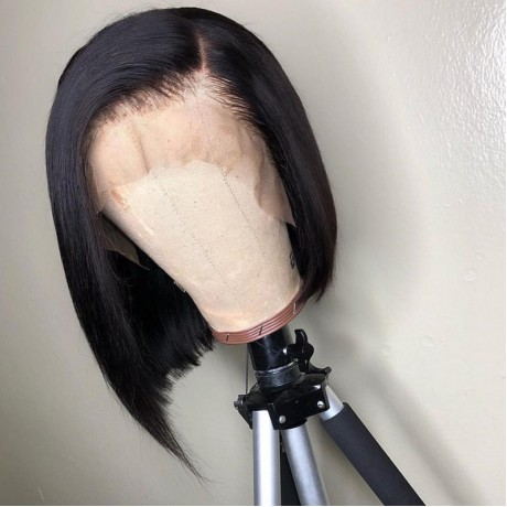 12inch Side part silky straight brazilian human hair bob lace front wig 180% density