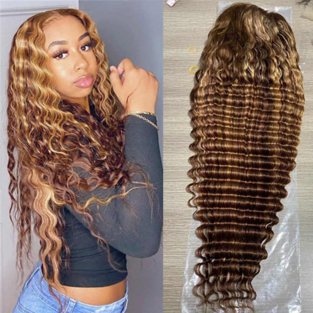 180% density  4 27 highlights colored deep wave human hair lace front wig LS11121