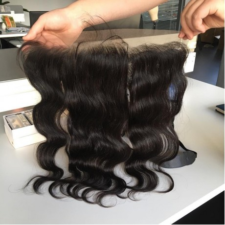 Pre Plucked Ear to Ear 13x4 Lace Frontal Closure With Baby Hair normal brown lace frontal body wave