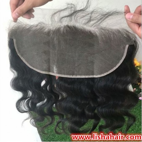 Brazilian Body Wave Lace Frontal Free Part Ear to Ear Human Hair Lace Closure Size 13x6 inch Natural Color